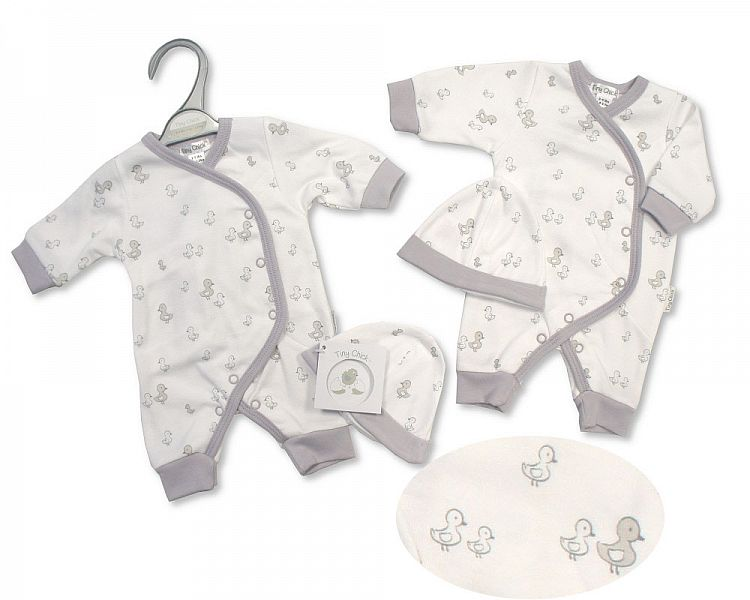 neonatal baby clothes sleepsuit set in 5-8lb white grey LITTLE DUCKIES