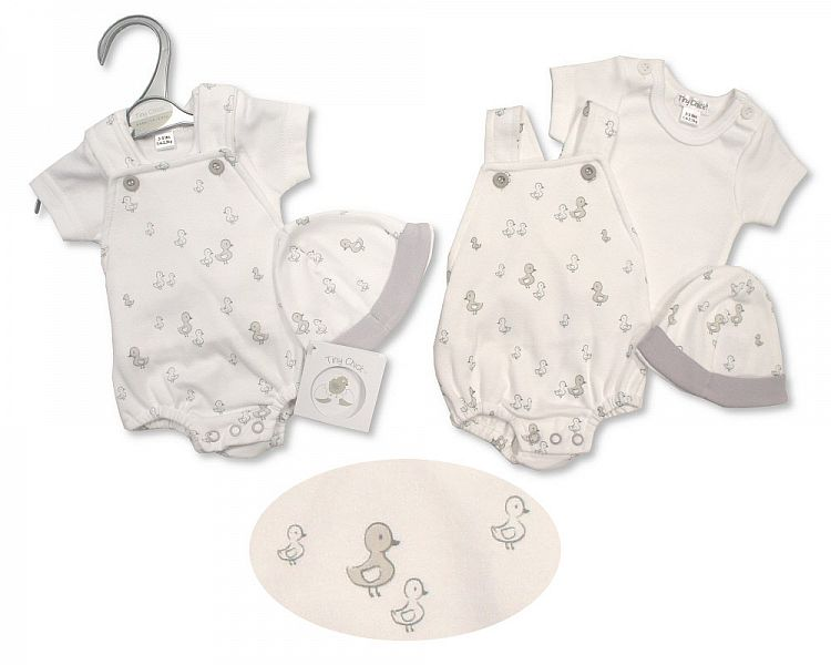 premature baby clothes in 3-5lb white CHICKS Dungaree set