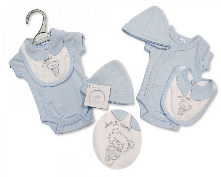 Boys tiny baby clothes vest tiny bib hat set TEDDIES ARRIVAL 5-8lb