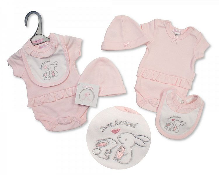 girls tiny baby clothes vest  bib hat pink set BUNNIES ARRIVAL 5-8lb