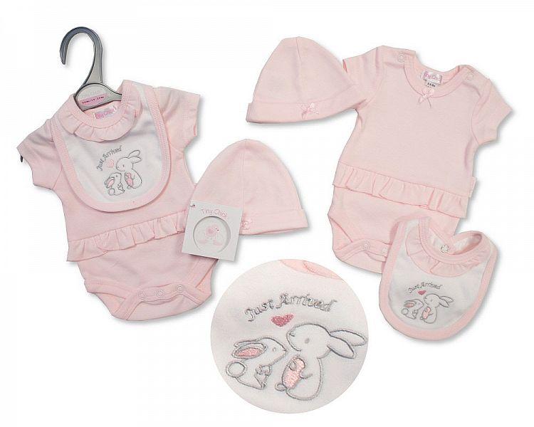 girls premature baby clothes vest bib hat set BUNNIES ARRIVAL 3-5lb