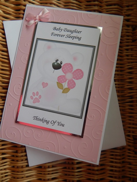 babies sympathy cards Daughter baby bereavement PETALS OF BEAUTY pink