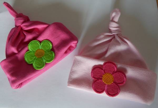 3lb tiny baby clothes girls pack 2 knotted hats FLOWER FUN 3-5lb