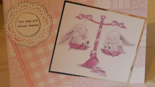 infant death condolence cards Twins Baby Girls TWO BUNNIES bereavement