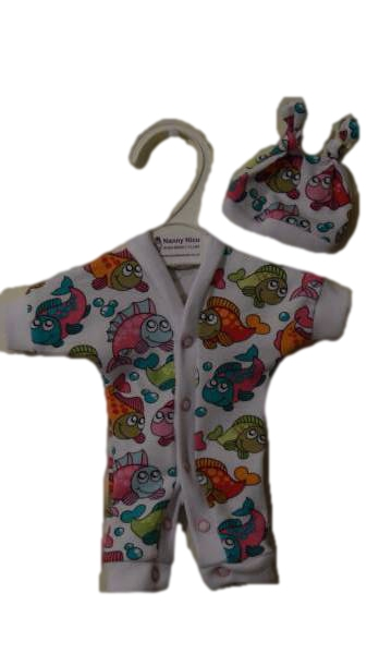 preterm babies clothes GIRLS Colourful FRIENDLY FISHES Early Baby 2-3lb
