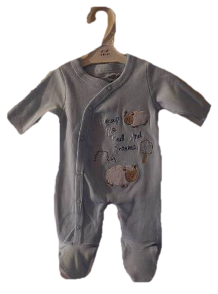 Premature baby gro LA LA Lamb design blue 3-5lb cotton sleepsuit