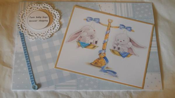 Twin baby death condolence cards Twins Babies Boys TWO BUNNIES bereavement card blue