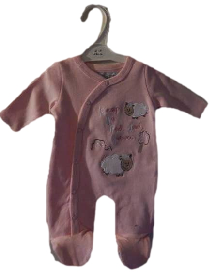 girls Premature baby clothes PINK babygrow LA LA Lamb cotton sleepsuit sizes 5-8lb
