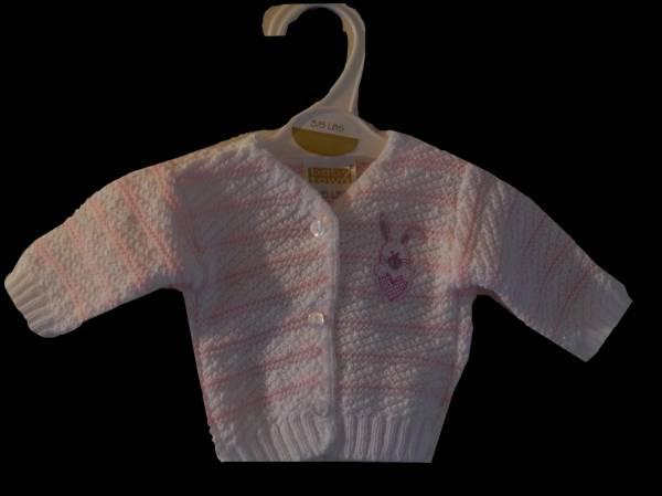 premature baby cardigan CONTENTED Bunny Pink prem babies 3.0-3.5kg, 5-8lb