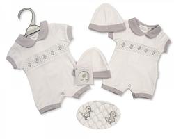 prem baby clothing 3-5lb smocked rompersuit DARLING DUCKIES