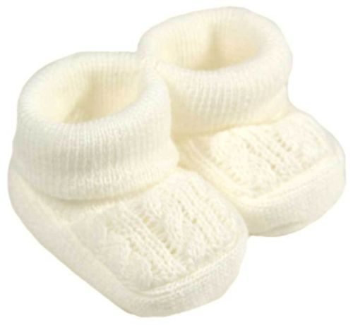 Prem baby clothes shoes baby Bootees in CREAM 5-8lb