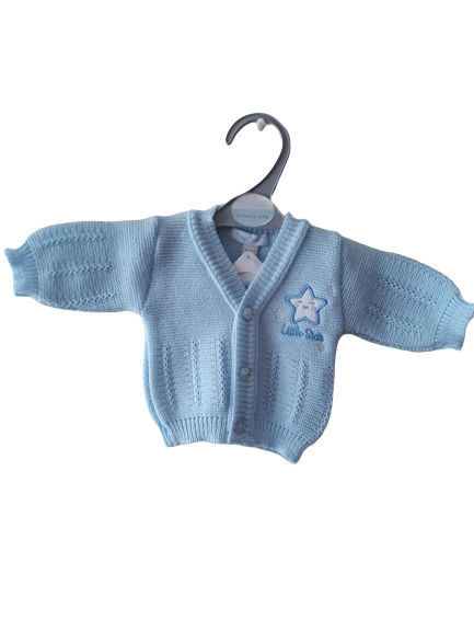 Boys Cardigan 5-8lb blissful baby BLUE