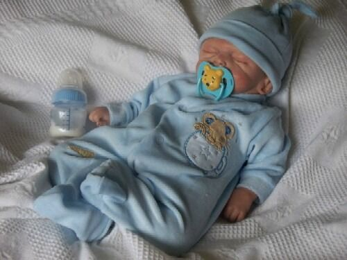 premature baby clothes sleepsuit velour BLUE 3-5lb MUFFIN MOUSE
