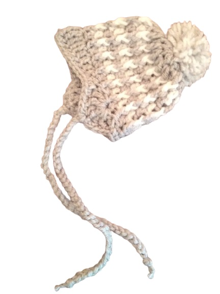 preemie hat LITTLE WOOLIES Grey with white  3-5lb