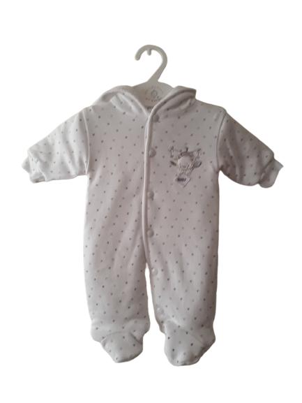 Warm range premature baby snowsuits MISCHIEF BEAR 3-5lb WHITE