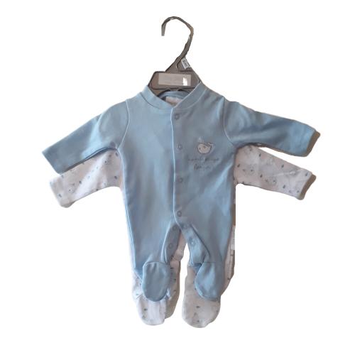 boys premature babies sleepsuits pack 2 babygrows LITTLE WHALES 2-3lb