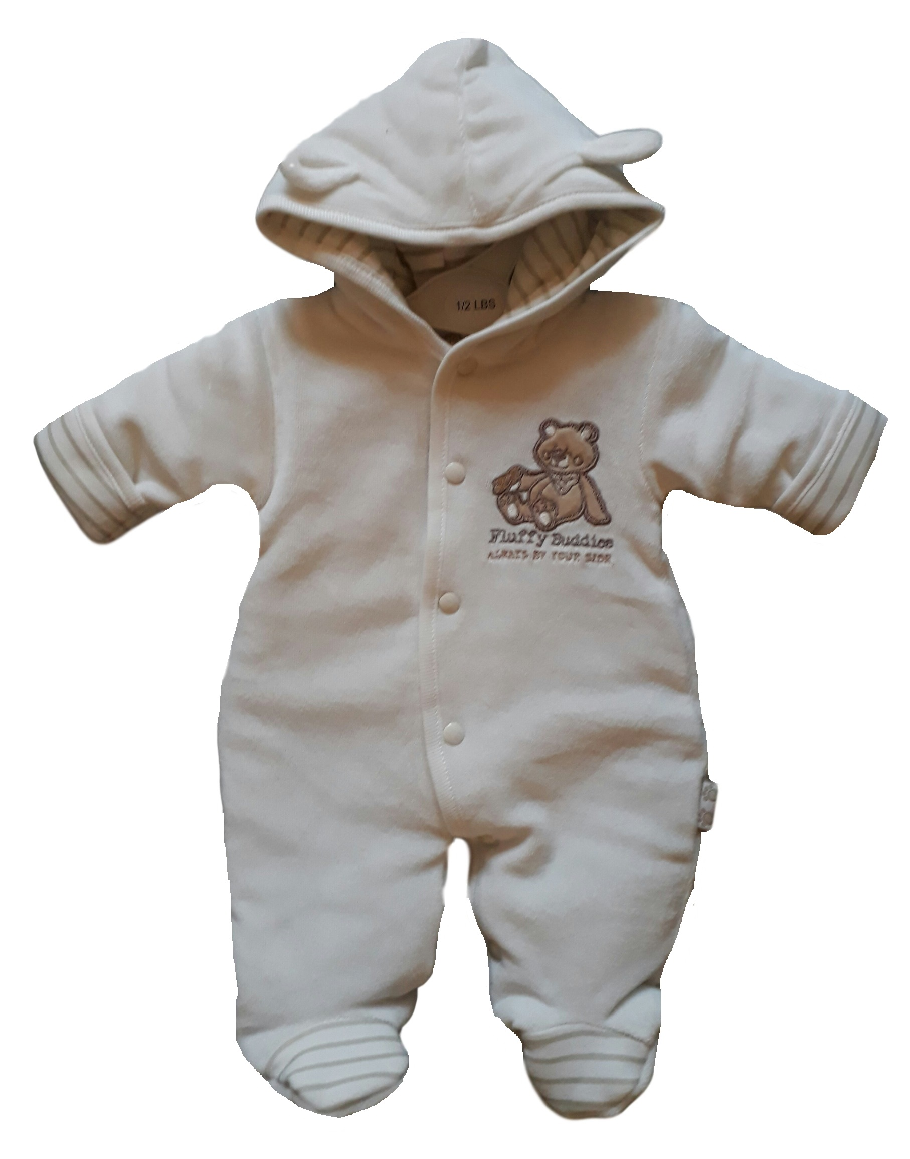 prem baby clothes padded pramsuit 5-8lb in cream velour BEST BUDDIES