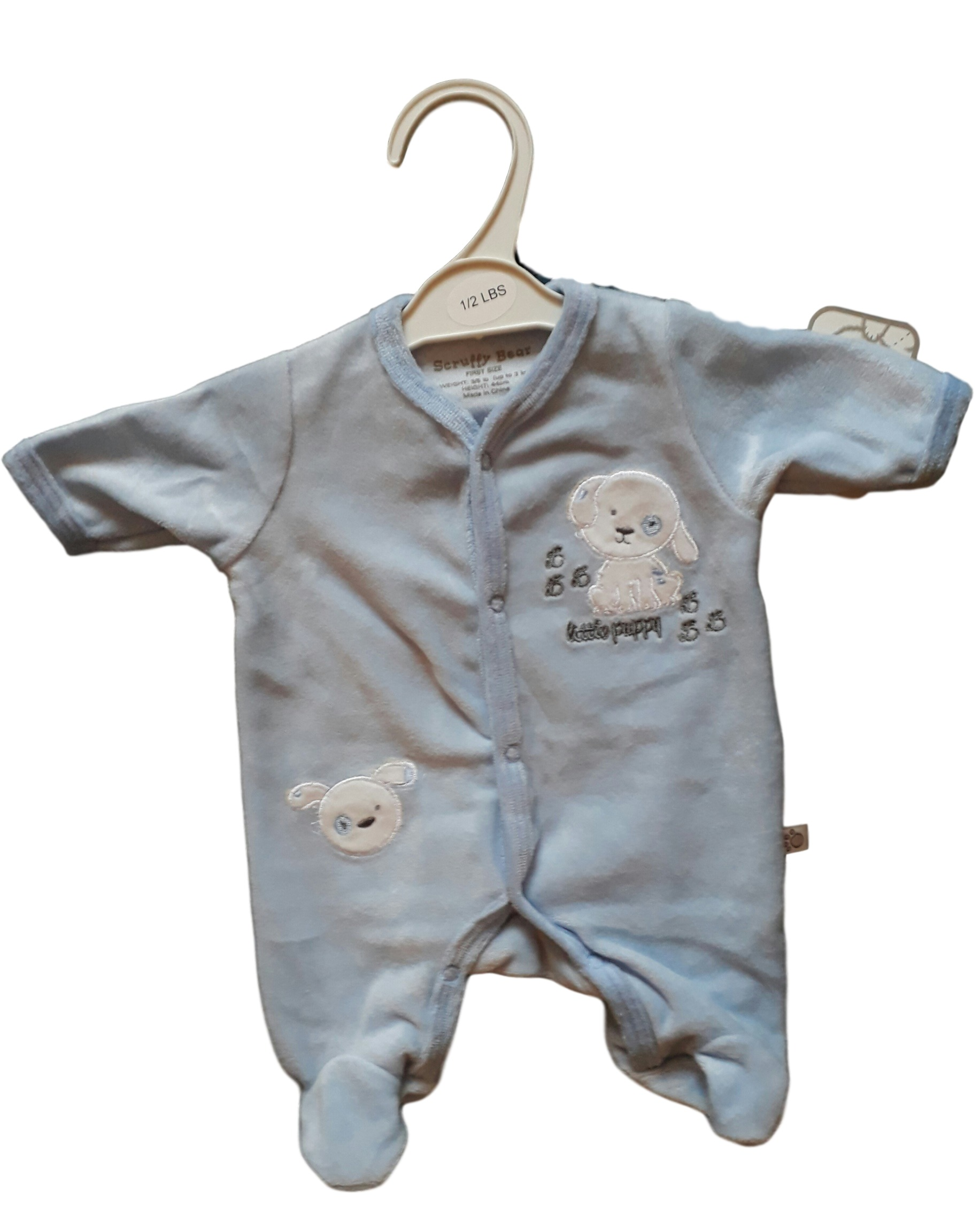 Premature baby clothes tiny babygrow velourLIL PUP BLUE WITH WHITE design all sizes