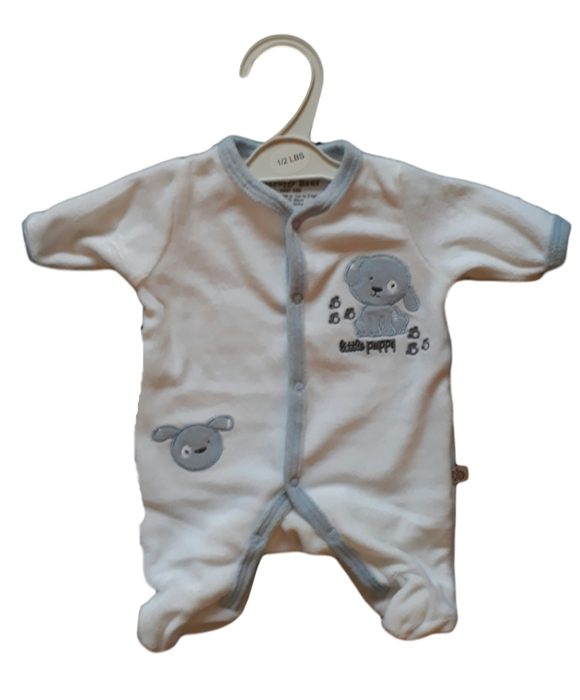 Premature early baby clothes grow velour LITTLE PUP design ALL SIZES