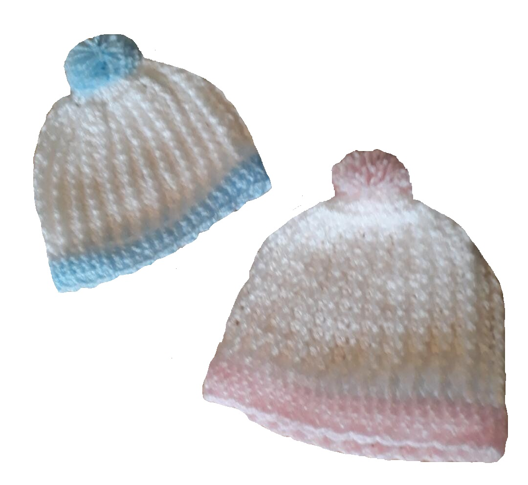 premature baby clothes 3lb crochet hats Bob white blue trim 3-5lb