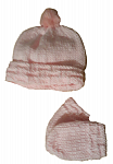premature babies clothes hat with mittens POM POM pink 3-5lb