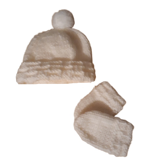 premature baby clothes POMPOM hat with mittens in cream 3-5lb