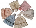 premature baby clothes bob hat mittens set LEMON 3-5lb POM POM