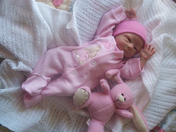 Premature baby grow  BUNNY HEAVEN cotton pink 3-5lb cute clothes