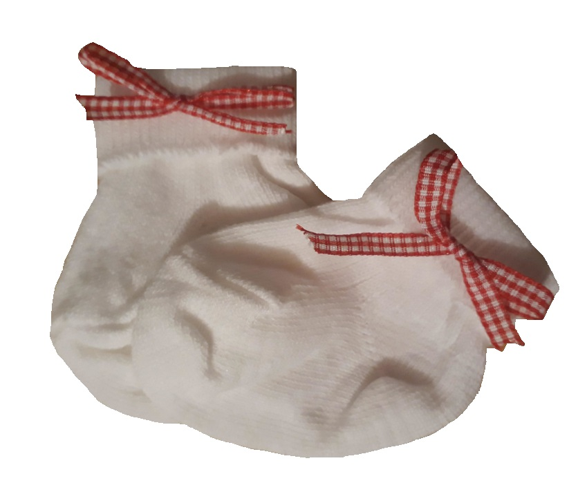 premature baby girls socks RED RIBBON 5-8LB small Snuggies