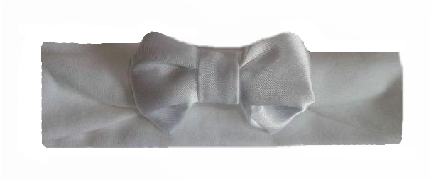 Premature baby Headband WHITE SATIN BOW 3-5lb