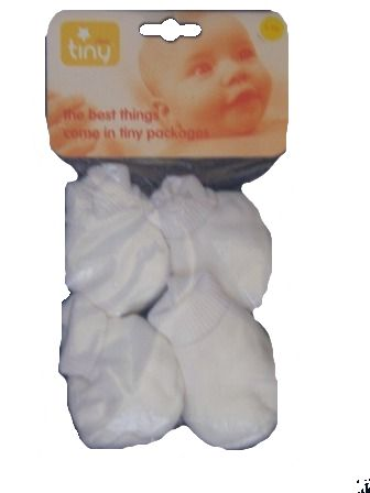 Premature sized Adorable little PACK cotton shoes WHITE 3-5 OR 5-8LB