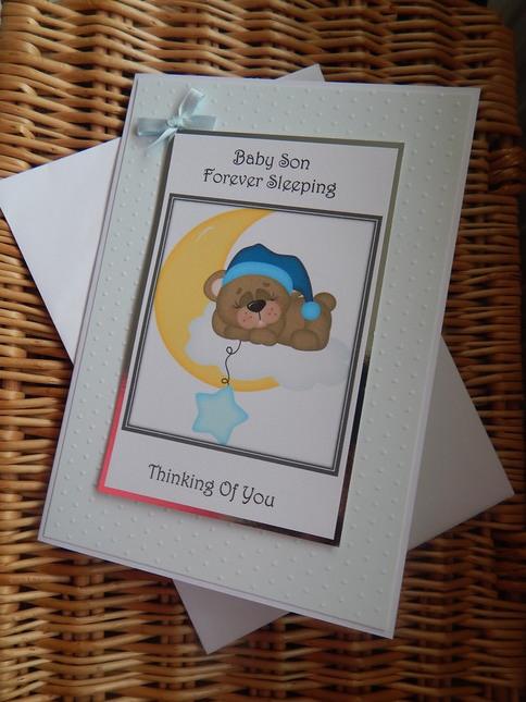 babies stillborn cards baby BOY in sympathy SKY OF WONDER tenderly