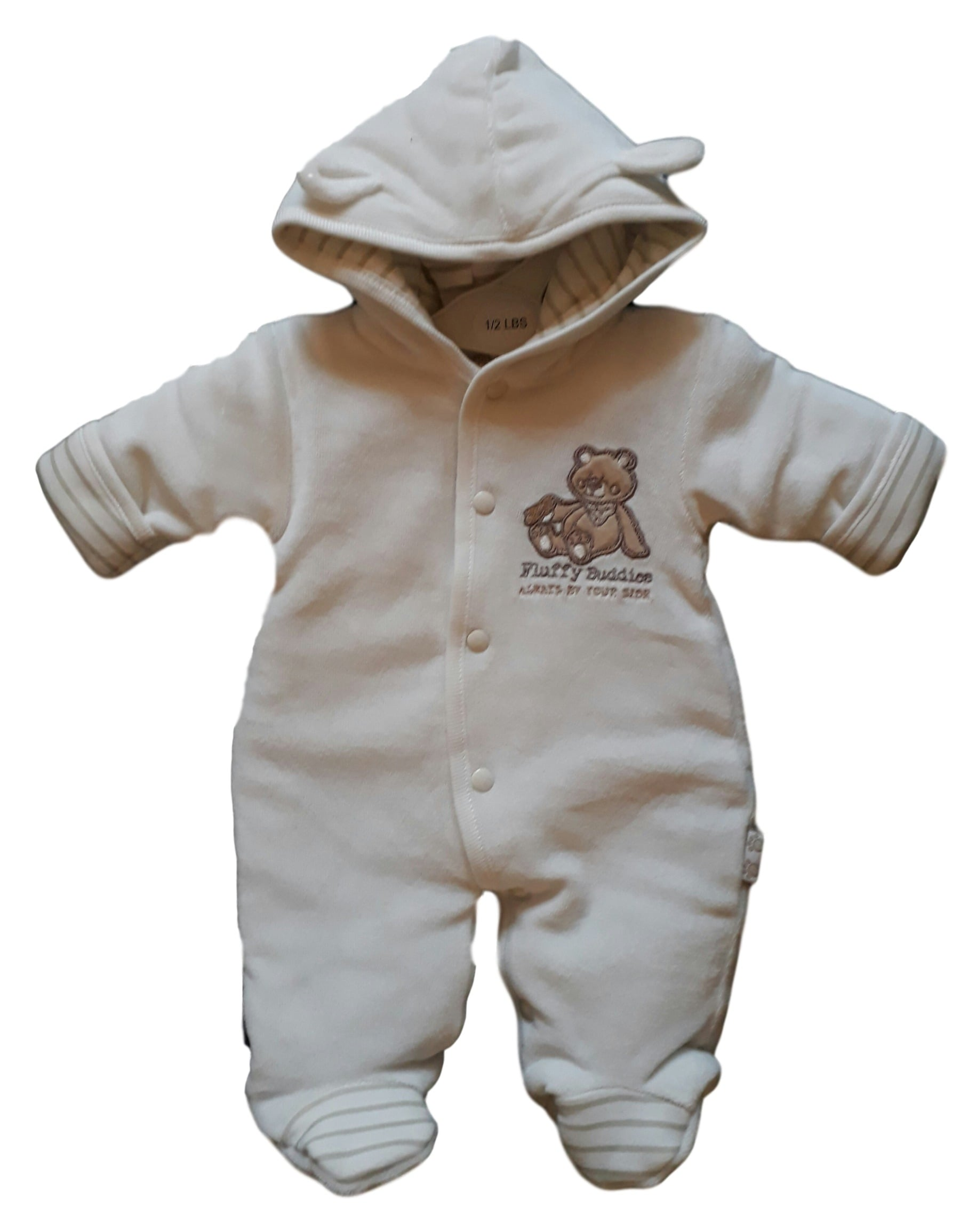 premature baby coat snowsuit style HUGGY BEARS 3-5lb in vanilla prem