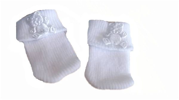 early baby socks 2-3lb Snuggies WHITE ted soft