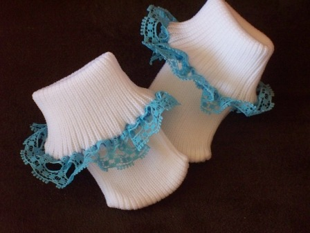 SNUGGIES premature baby girls socks frilly TURQUOISE lace trim 00000 2-3lb