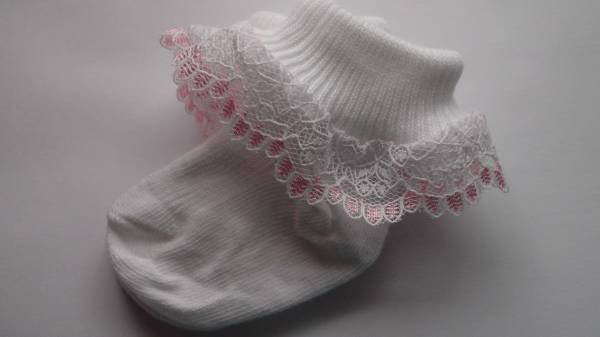 sweet pair tiny newborn socks Pink frilly trim 5-8lb 000