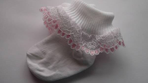 sweet pair of premature newborn socks Pink frilly trim 3-5lb 0000
