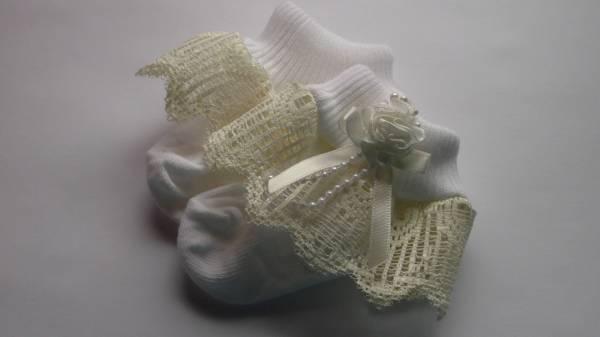 premature baby socks special occasion 5-8lb VICTORIAN LACE CREAM