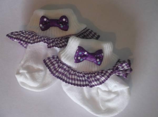 premature baby socks tiny baby special occasion socks BLACKCURRANT  frills 5-8lb