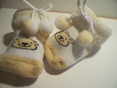 novelty premature baby socks BOO BOO BEAR 5-10LB beige