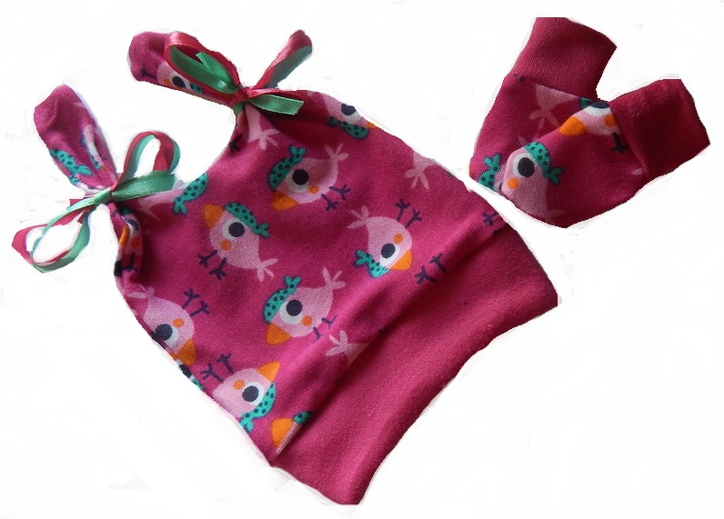 premature babies clothes hat And mittens small 3-5lb BIRDY DANCE