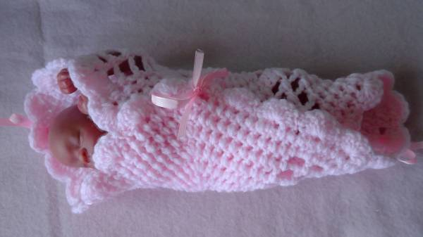 pink crochet infant baby burial bereavement shawl 30cm 0-2lb baby