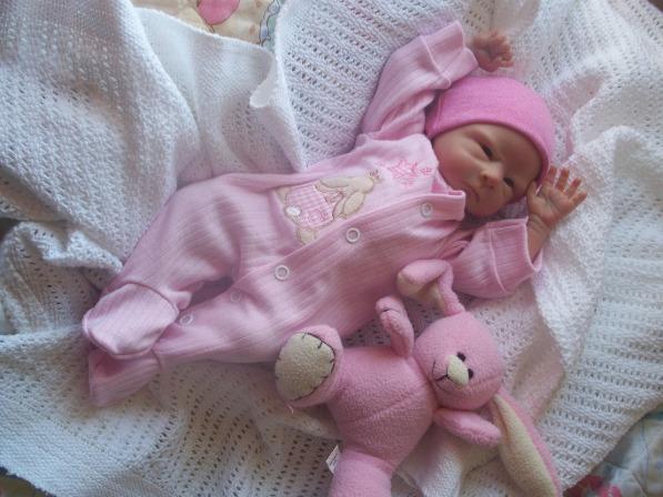 Premature baby grow  BUNNY HEAVEN sleepsuit cotton 5-8lb pink