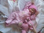 Premature baby grow  BUNNY HEAVEN sleepsuit cotton 5-8lb pink