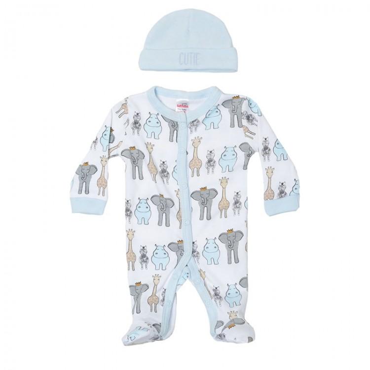 tiny baby sleepsuits 3-5lb ANIMAL SAFARI blue trims boys