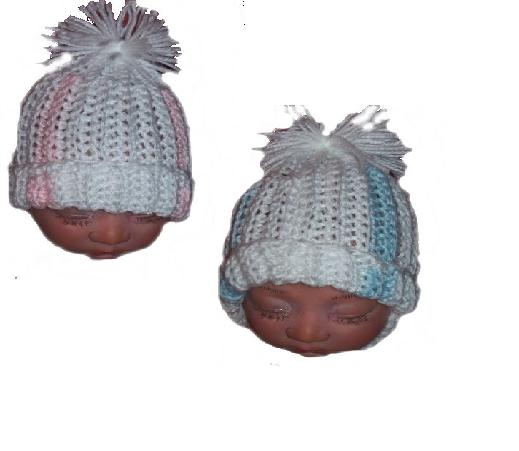 Premature early baby pack of 2 knitted hats bring me home style STRIPED TRIM 3-5LB