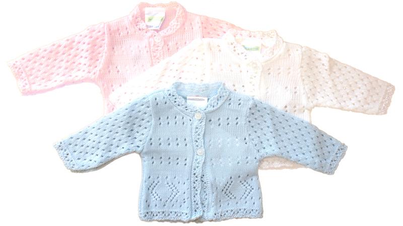 unisex prem baby cardigans white 3-5lb 5-8lb NIFTY KNITS