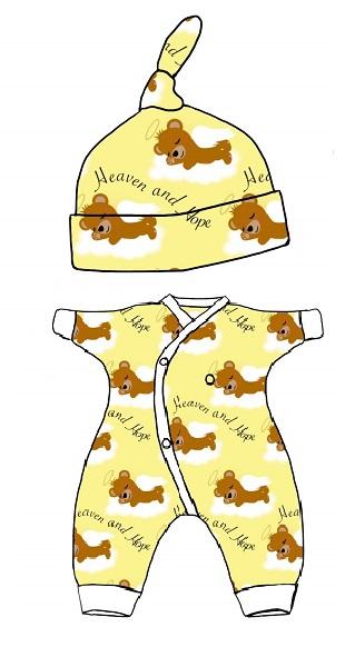 tiny baby clothes unisex bereavement HEAVEN AND HOPE teddies lemon
