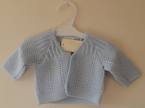Premature baby cardigan blue LITTLE MARVEL design WHITE SIZES 3-5LB