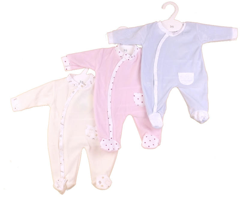 neonatal baby clothes premature 3-5lb 2.0-2.5kg Sleepsuit velour CROSSOVER